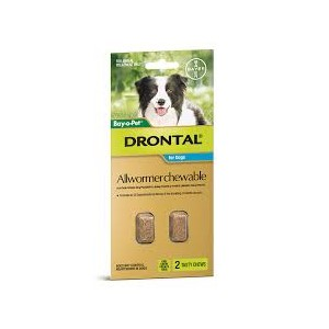 Drontal Allwormer Chewable for Medium Dogs 2 Pack